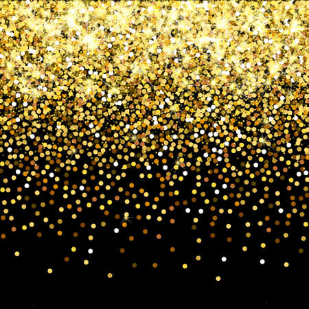 expensive: Falling golden particles on a black background. Scattered golden confetti. Rich luxury fashion backdrop. Bright shining gold. Gold round dots. Stock Photo
