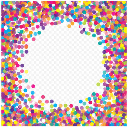 Veelkleurige papieren confetti op transparante achtergrond. Realistische confetti vliegen. Kleurrijke verspreide items voor kerstversiering. Achtergrond voor vakantiekaarten, groeten. Stockfoto