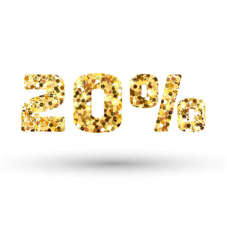 expensive: Gold 20 percent on white background. Twenty percent golden glitter. Amber particles gold confetti number.