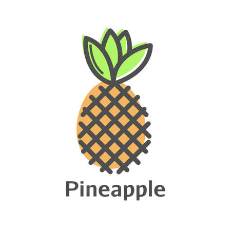 Pineapple color thin line vector icon. Isolated pinapple fruit linear style for menu, label, logo. Simple vegetarian food sign.