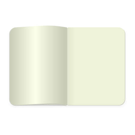 realistic blank magazine or book spread on white background. Top view notepad template. Stock Photo