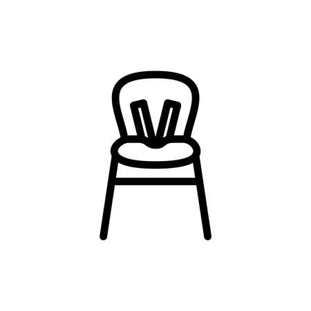child sitting: Baby highchair thin line icon. Outline symbol kid high chair for feeding for the design of childrens webstie and mobile applications. Outline stroke kid pictograms. Baby safety device in the kitchen.