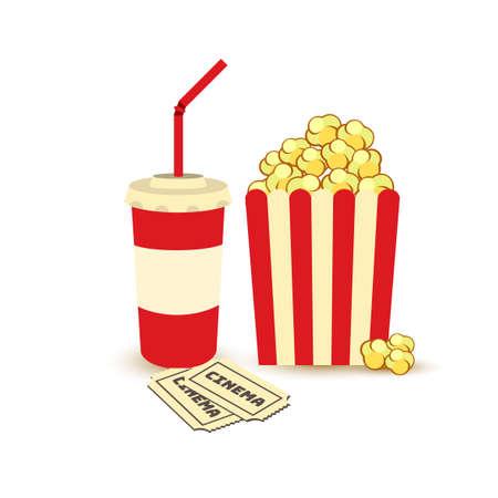 Popcorn and drinks vector Illustration