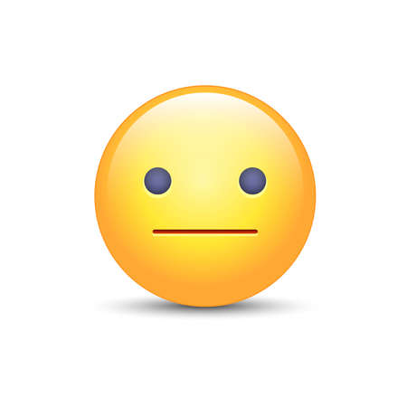 Indifferent emoji cartoon icon Illustration