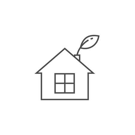 Low energy house thin line icon. Eco frendly home symbol. Stock Photo