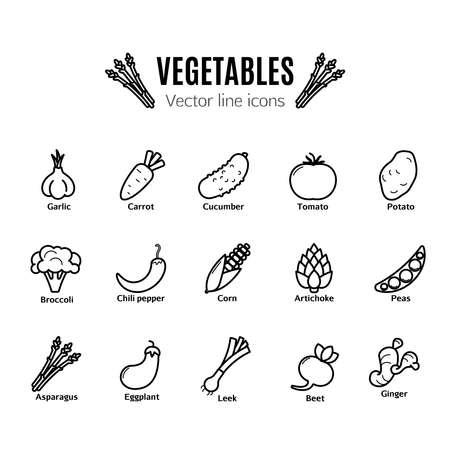 Légumes vecteur mince ligne jeu d'icônes Banque d'images - 87214139