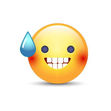 boca cerrada: Vector sonriente cara con boca abierta y sudor frío