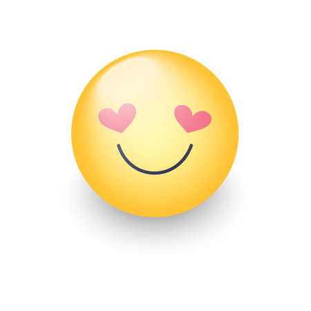 Happy loving emoticon face with eyes in the form of hearts