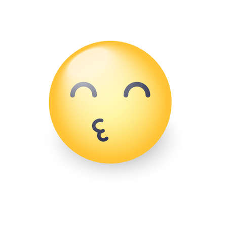 Smiley sending an air kiss with closed eyes. Emoticon face throwing a Kiss. Happy loving emoji for applications and chat Illustration