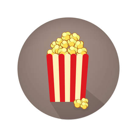 snack bar: Popcorn icon in flat style. Movie poster template. Cinema design elements in retro style. Vintage cinema sign for poster, card, coupon, web.