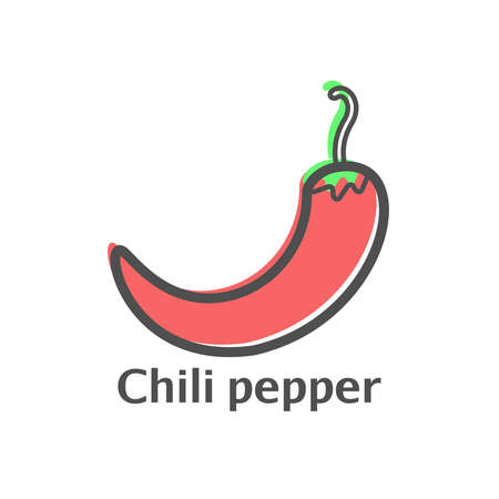 Pepper color thin line icon. Isolated chili vegetables linear style for menu, label, logo. Simple vegetarian food sign.