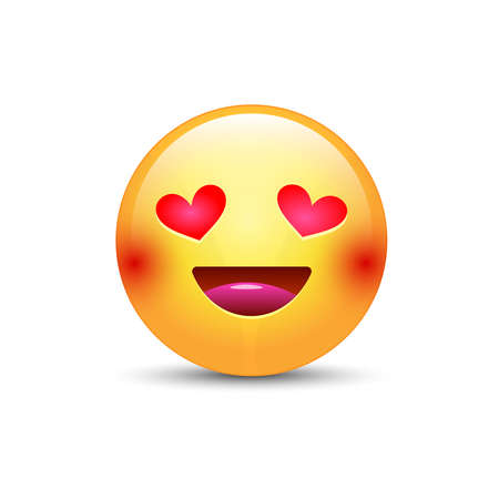 beguin: Happy loving emoticon face with eyes in the form of hearts. Cartoon vector emoji in love with smile.