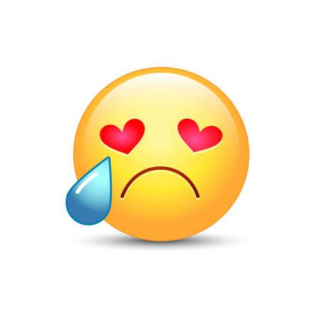 Smutna zakochana buźka z oczami w formie serc. Płacząca twarz emoji. Śliczny kreskówka emoticon z łzami od jego oczu. Nieszczęśliwa postać w miłości.