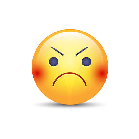Angry smiley emoji face. Annoyed cute cartoon vector emoticon Illustration