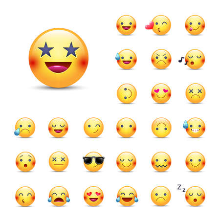 Smileys vector icon set. Emoticons pack. Happy, merry, singing, sleeping, ninja, crying, eyes in the form of stars, in love and other round yellow emoji face. Large collection of smiles.