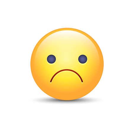 Besorgter Vektor Cartoon Emoji. Frustriert, verzweifelt, enttäuscht, wütend, traurig Emoticon Stimmung. Unglücklicher Smiley. Stirnrunzelndes Gesicht.