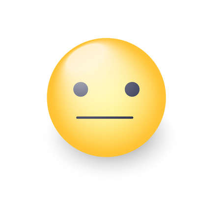 Indifferent emoji cartoon icon. Expressionless emoticon face. Neutral smiley mood