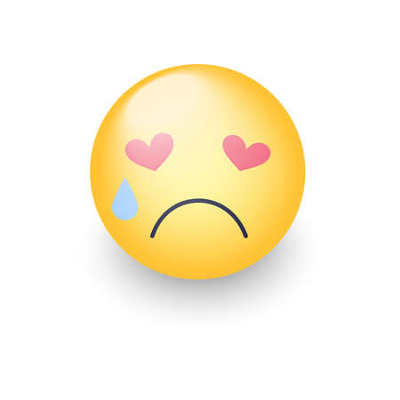 A sad enamored smiley with eyes in the form of hearts. Crying emoji face. Cute cartoon emoticon with tears from his eyes. Unhappy character in love.