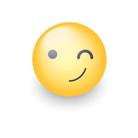 Winking fun cartoon emoji face. Wink and smile happy vector emoticon. Smiley for chat and app