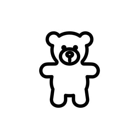 child sitting: Teddy bear plush thin line icon. Outline symbol baby soft toy for the design of childrens webstie and mobile applications. Outline stroke kid cute teddybear pictogram.