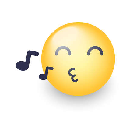 Singing smiley face. Emoji whistles a song. Cartoon vector emoticon with notes. Happy yellow vector cartoon character with eyes closed.