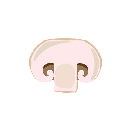 Mushroom champignon cut sliced product on white background. Mushroom drawing for icon, logo, label, menu. Ingredient for pizza.