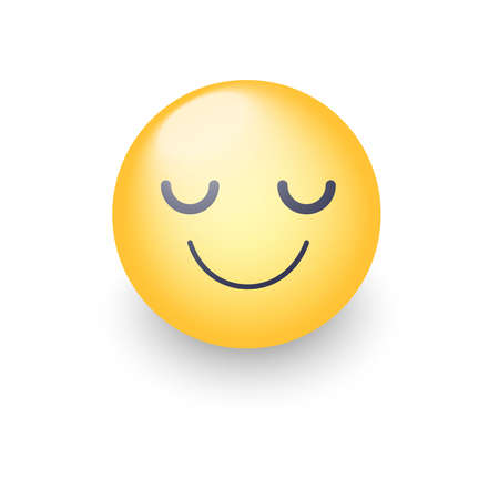 Happy cartoon emoji face with closed eyes. Smiling yellow cute emoticon. Fun smiley for application and chat. Illustration