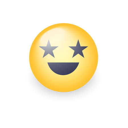 celeb: Happy laughing emoji face with eyes in the form of stars. Fun cartoon vector emoticon with smile. Cute yellow smiley for application and chat.