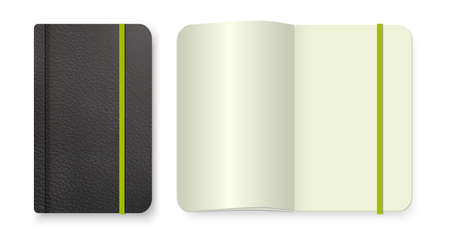 Realistic black notebook with green elastic band. Top view diary template. notepad mockup. Closed diary and realistic blank magazine or book spread on white background.