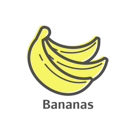 provision: Bananas thin line icon. Isolated fruit linear style for menu, label, logo. Simple vegetarian food sign. Stock Photo