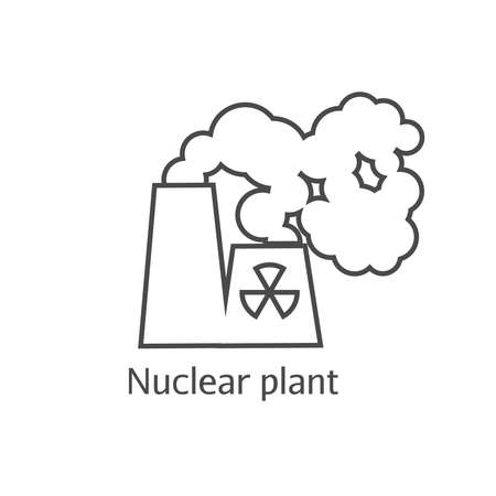 Radioactive smoke and nuclear plant thin line icon. Dangerous anti-ecological poisonous sediments linear icon. Environmental pollution concept. Stock Photo