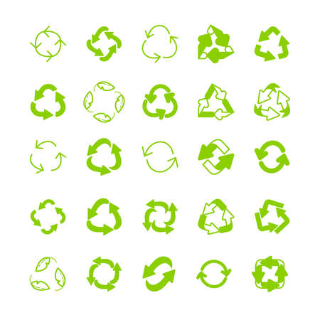 Recycling ecology thin line icon set. Protection of the environment and nature linear sign. Ecological symbols for infographic, website or app.