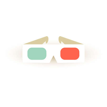 Paper 3d glasses icon. Vector stereo sinema glasses element in retro style. Vintage cinema sign for poster, card, coupon, web.