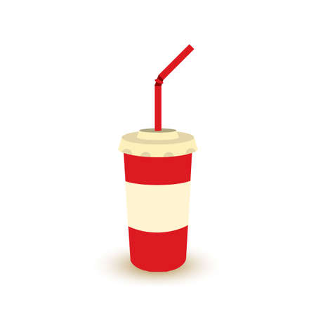Plastic cup of soda with straw. Soft drink cola take away color icon in retro style. Vintage cinema sign for poster, card, coupon, web. Stock Photo