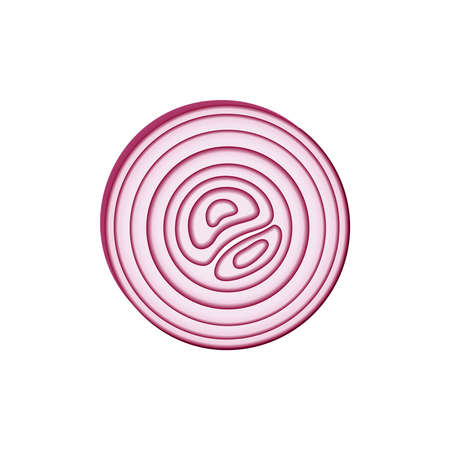 Icon red onion sliced with rings. Design element of eating for the menu, top view. Vector icon. Stock Photo