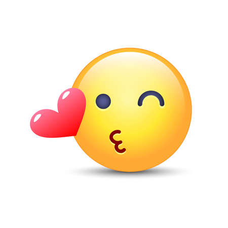 Emoticon face throwing a Kiss. Winking smiley with a heart. Happy loving emoji for applications and chat.