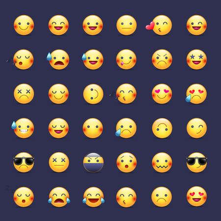 Smileys vector icon set. Pictogrammes d'émoticônes. Heureux, joyeux, chantant, dormant, ninja, pleurant, amoureux et autres smiley jaunes ronds. Grande collection de sourires