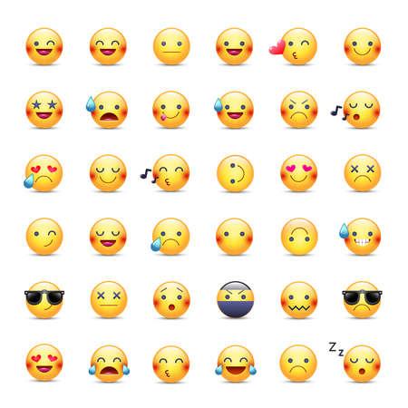 스마일 벡터 아이콘을 설정합니다. 이모티콘 그림. 행복하고, 즐겁고, 노래하고, 자고, 닌자가 울고, 사랑에 빠지며 다른 노란 스마일들. 미소의 큰 컬 일러스트