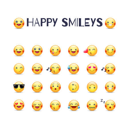 Happy smileys vector icon set. Joy emoticons pictograms collection. Happy round yellow smileys. Laughing, joyful, in love, cheerful, mischievous and others emoji face