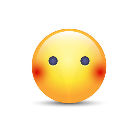 Face emoji without mouth. Cartoon vector silent emoticon. Smiley cute icon Illustration