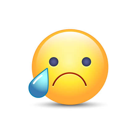 yellow teeth: Disappointed emoji face. Crying vector cartoon smiley. Sad emoticon mood.
