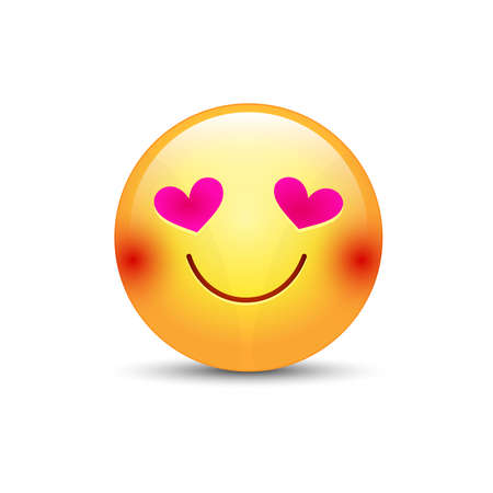 beguin: Happy loving emoticon face with eyes in the form of hearts. Cartoon vector emoji in love with smile Illustration