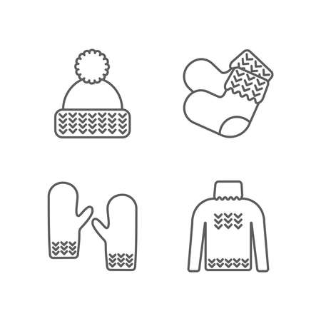 Knit icon set. Knitting clothes, knitted samples thin line sign. Hat, mittens, socks, sweater and other hand-knitted garments