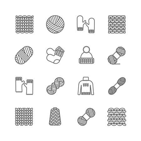 Knit icon set. Yarn, knittind clothes, knitted samples thin line sign. Hat, mittens, socks, sweater and other hand-knitted garments