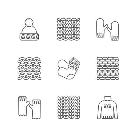 Knittind clothes, knitted samples thin line icons. Hat, mittens, socks, sweater and other hand-knitted garments. Knit vector set