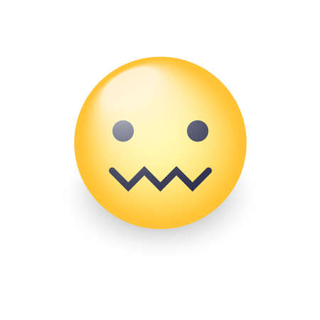 Verwirrtes Emoticongesicht. Reißverschluss-Mund-Gesicht. Verlegenes Emoticon mit einem Mund in Form eines Zickzacks. Gesichtsausdruck verwechselt Emoticon-Symbol