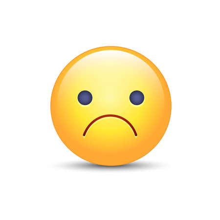 Worried vector cartoon emoji. Frustrated, distressed, disappointed, angry, sad emoticon mood. Unhappy smiley. Frowning Face