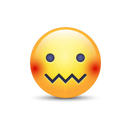Confounded emoticon face. Zipper-Mouth Face. Embarrassed emoticon with a mouth in the form of a zig-zag. Facial expression confounded emoticon icon Illustration