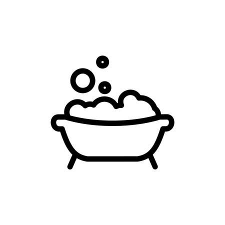 Baby bath thin line icon. Outline symbol bath with foam and bubbles for the design of childrens webstie and mobile applications. Outline stroke kid bathing pictogram.