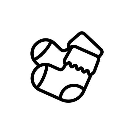 Baby booty thin line icon. Outline symbol newborn shoes for the design of childrens webstie and mobile applications. Outline stroke kid pictogram